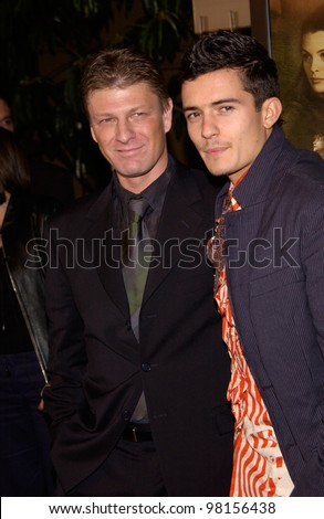 Actors SEAN BEAN (left) & ORLANDO BLOOM at the Los Angeles premiere of their new movie The Lord of the Rings: The Fellowship of the Ring. 16DEC2001  Paul Smith/Featureflash
