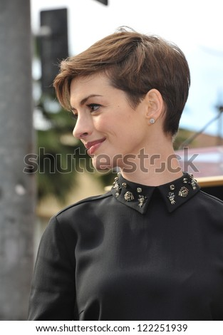 Actress Anne Hathaway on Hollywood Blvd where actor Hugh Jackman was honored with the 2,487th star on the Hollywood Walk of Fame. December 13, 2012  Los Angeles, CA Picture: Paul Smith