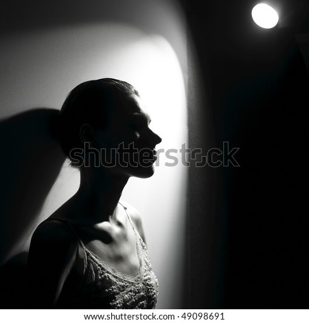 Actress in the spotlight. Fashion photo