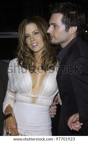 Actress KATE BECKINSALE & boyfriend director LEN WISEMAN at the Los Angeles premiere of their new movie Underworld. Sept 15, 2003  Paul Smith / Featureflash - stock photo