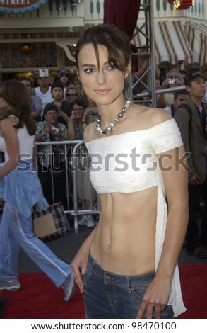 Actress KEIRA KNIGHTLEY at the world premiere of her new movie Pirates of the Caribbean: The Curse of the Black Pearl, at Disneyland, California. June 28, 2003  Paul Smith / Featureflash