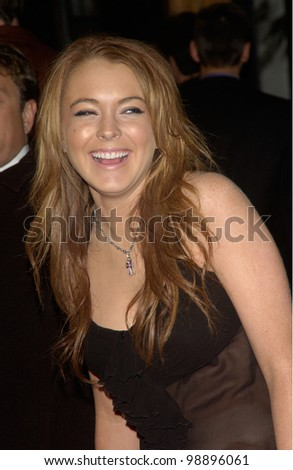 Actress LINDSAY LOHAN at the world premiere, in Hollywood, of The Perfect Score. January 27, 2004