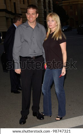 Actress REBECCA DE MORNAY & actor husband PATRICK O'NEAL (son of Ryan O'Neal) at the Los Angeles premiere of the TV movie James Dean. 25JUL2001.   Paul Smith/Featureflash