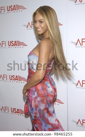 Actress/singer BEYONCE KNOWLES at the AFI Life Achievement Award Gala, in Hollywood, honoring Robert De Niro. June 12, 2003