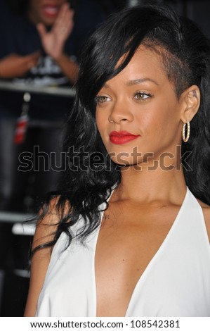 Actress/singer Rihanna arrives at the premiere of Universal Pictures' 'Battleship' at Nokia Theatre L.A. Live.