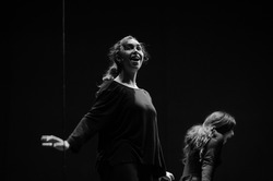 Actresses on stage in rehearsals, opposites, happiness and anguish. Black and white photography.