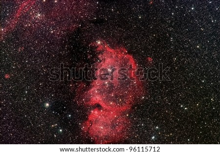 Actual astrophotograph. ic1848 Constellation Cassiopeia. Called the Emperor Nebula.  imagine different faces. A profile, Ben Franklin, turned upsided down, maybe Einstein. Also called the Soul nebula