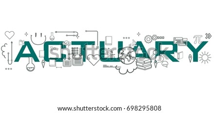 Actuary word isolated on white background with icons representing education.