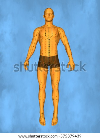 Acupuncture model M-POSE Mylie-01-2, 3D Model Zdjęcia stock ©