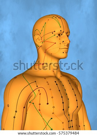 Acupuncture model M-POSE Mylie-01-10, 3D Model Zdjęcia stock ©