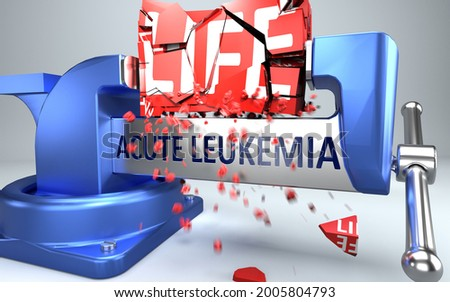 Acute leukemia can ruin and destruct life - symbolized by word Acute leukemia and a vice to show negative side of Acute leukemia, 3d illustration Foto stock ©