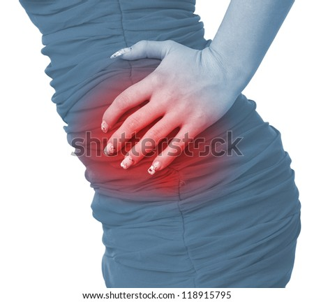 Acute pain in a woman abdomen. Female holding hand to spot of Abdomen-ache. Concept photo with Color Enhanced blue skin with read spot indicating location of the pain. Isolation on a white.