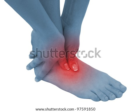 Acute pain in a woman ankle. Concept photo with blue skin with read spot indicating pain. Isolation on a white background