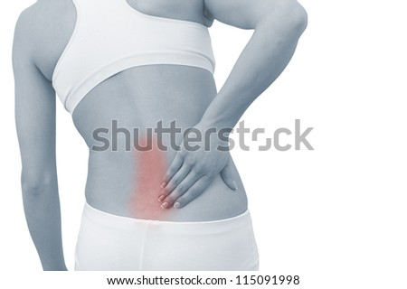 Acute pain in a woman back. Female from behind holding hand to spot of back pain. Concept photo with Color Enhanced blue skin with read spot indicating location of the pain.