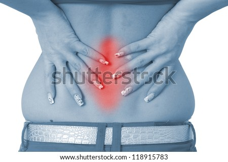 Acute pain in a woman back. Female from behind holding hand to spot of back pain. Concept photo with Color Enhanced blue skin with read spot indicating location of the pain. Isolation on a white.