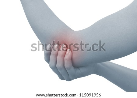 Acute pain in a woman elbow. Female holding hand to spot of elbow pain. Concept photo with Color Enhanced blue skin with read spot indicating location of the pain. Isolation on a white background.