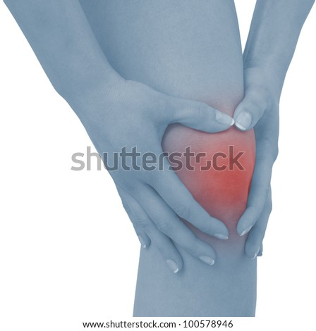 Acute pain in a woman knee. Concept photo with blue skin with read spot indicating pain. Isolation on a white background