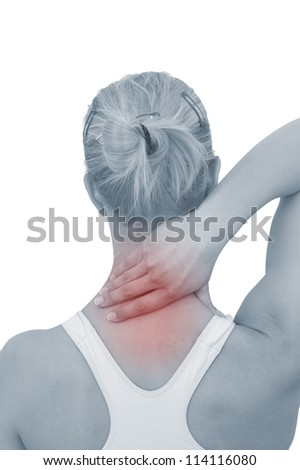 Acute pain in a woman neck. Female holding hand to spot of neck-aches. Concept photo with Color Enhanced blue skin with read spot indicating location of the pain. Isolation on a white background.