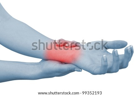 Acute pain in a woman wrist. Female holding hand to spot of wrist pain. Concept photo with Color Enhanced blue skin with read spot indicating location of the pain. Isolation on a white background.