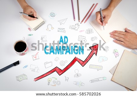 Ad Campaign, Business Concept. The meeting at the white office table