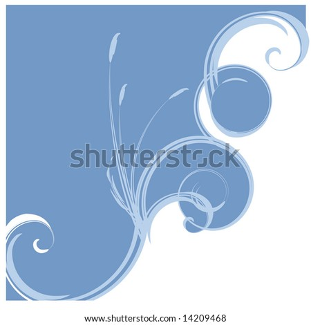 Ad page layout or report cover or background featuring abstract ocean waves and cattails in JPEG/TIFF. (Image ID for vector version: 14125372)