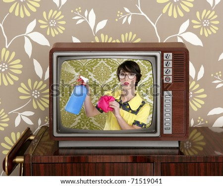 ad tv commercial retro nerd housewife cleaning chores wood television [Photo Illustration] - stock photo