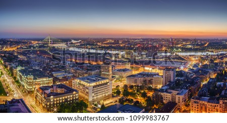 Ada,  Gazela bridges, Belgrade Waterfront, Government of Serbia, Sava river by night panorama with city lights