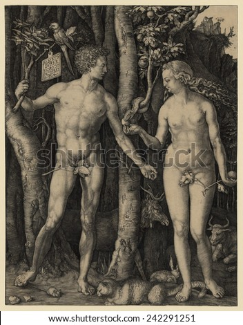 ADAM AND EVE, 1504 engraving by German master, Albrecht Durer. Adam holds a branch from the Tree of Life, while Eve holds a branch from the forbidden Tree of Knowledge.