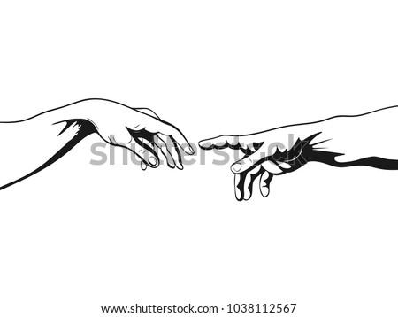 Adam and God hands