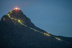 Adam's Peak (Sri Pada) Mountain at night in Sri lanka