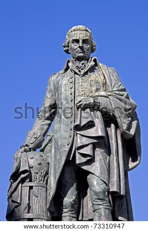 Adam Smith (1723-90) Monument on the Royal Mile, Edinburgh, Scotland. The Enlightenment philosopher's book, Wealth of Nations, is considered a pioneering guide to economics and free market enterprise.