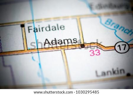Adams. North Dakota. USA on a map.   EZ Canvas