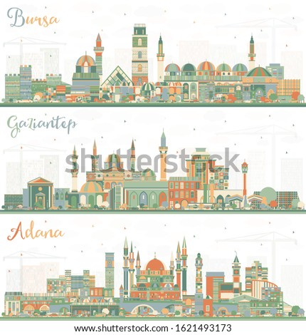 Adana, Gaziantep and Bursa Turkey City Skylines with Color Buildings. Business Travel and Tourism Concept with Historic Architecture. Cityscapes with Landmarks.