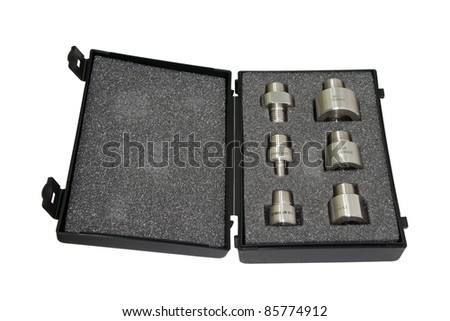 Adapters for measuring equipment. Isolated on white background.