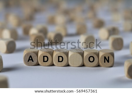 add on - cube with letters, sign with wooden cubes Stock foto ©