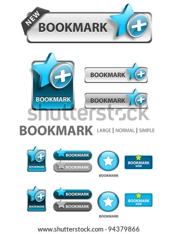 add to bookmark button, collection of favorite icons and buttons