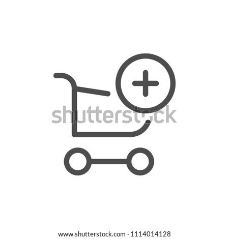 Add to cart line icon isolated on white