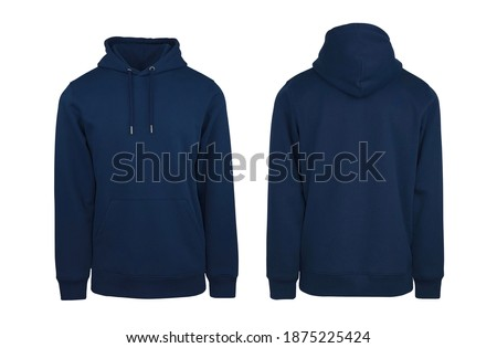 Add your own design. Front and Back Navy Blue Pullover Hoodie. Isolated on a White Background for Easy Editing and Personalisation. Photographed on a Medium-Sized Male Ghost Mannequin. Photo stock ©