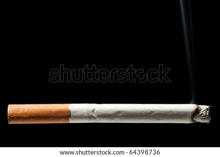 Addiction issue - smoking cigarette black isolated