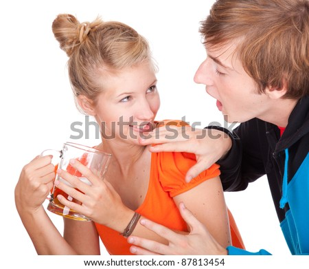 addiction - problems with alcohol - drunk man and his girlfriend