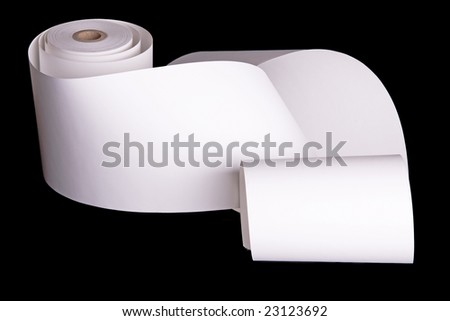 Adding machine tape partially unrolled and ready for your text.  Isolated on black.