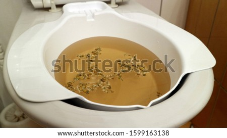 Additional bidet, bowl for sitting baths, with herbs.  Stock fotó ©