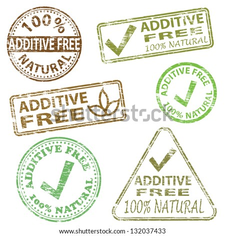 Additive free food. Rubber stamp illustrations