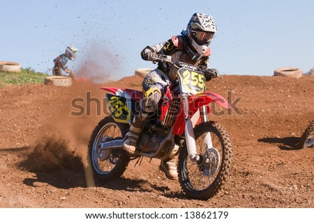 Adelaide, Australia - June 15: Racing in the Junior Class of the South Australian Motocross Title 15th June 2008