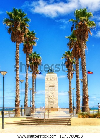 Adelaide, Australia, March 01 2015: Glenelg Beach Pioneer Memorial located at Moseley Square, Jetty Road, erected in 1936 to represent 4 of the biggest colonists