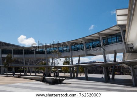 ADELAIDE, AUSTRALIA - SEPTEMBER 30, 2017: Bridge on the Adelaide airport connecting the terminal building with car park. #762520009
