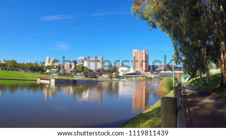 Adelaide Riverbank City skyline from across the Torrens River riverbank. #1119811439