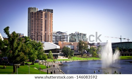 Adelaide skyline and Torrens River at sunset