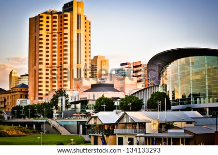 Adelaide skyline  at sunset