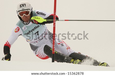 ADELBODEN SWITZERLAND JANUARY 06 Mario Matt Austria Competing in the Audi FIS Alpine Ski World Cup Events 2007-2008
